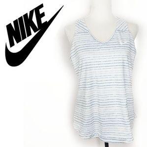 Nike Dri Fit White & Blue Tank Size Large
